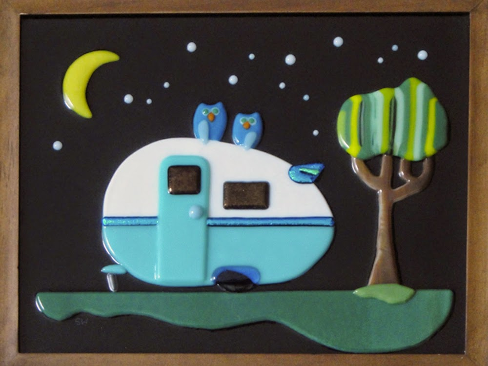 fused glass stained teardrop blue camper trailer retro owl night stars camping glamping flutterbyfoto flutterbybutterfly