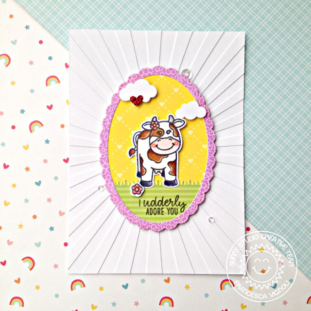 Sunny Studio Stamps: Miss Moo Stitched Ovals Fancy Frames Punny Card by Franci Vignoli
