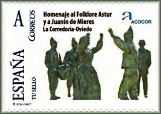 Sello personalizado de ACOCOR, escultura de Juanín de Mieres