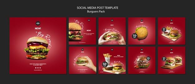 Instagram post template for burger restaurant Free Psd