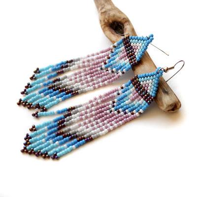 куплю цена Длинные висячие серьги из бисера в стиле этно. Бижутерия ручной работы