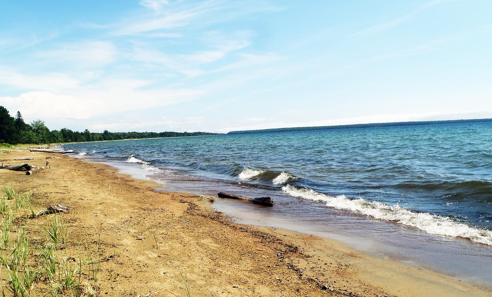 Lake Superior lapping the shore at Batchawana Bay Provincial Park.