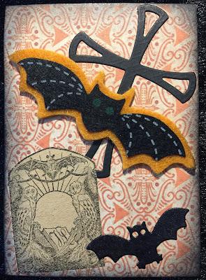 Halloween ATC (Artist Trading Card) with bat