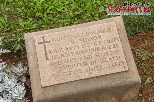 Gravestone - J.W. Tolson - British Military WW1 Cemetery in Skopje