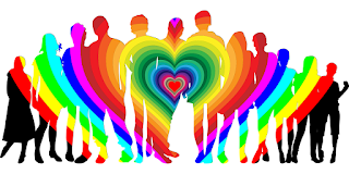 A group of people in silhouette against a white background, with the silhouette itself being filled with a rainbow heart pattern.