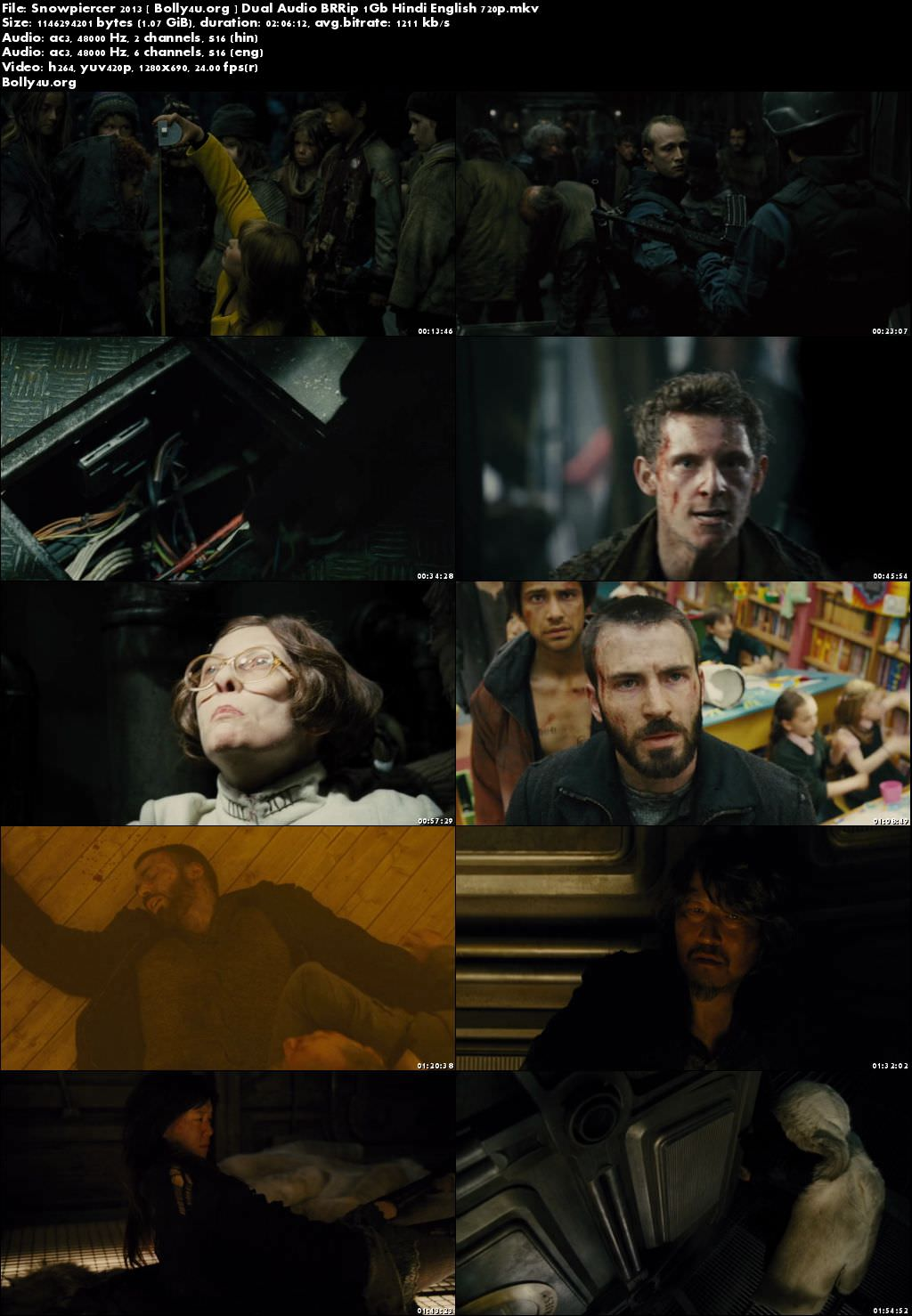 Snowpiercer 2013 BRRip 1GB Hindi Dual Audio 720p Download