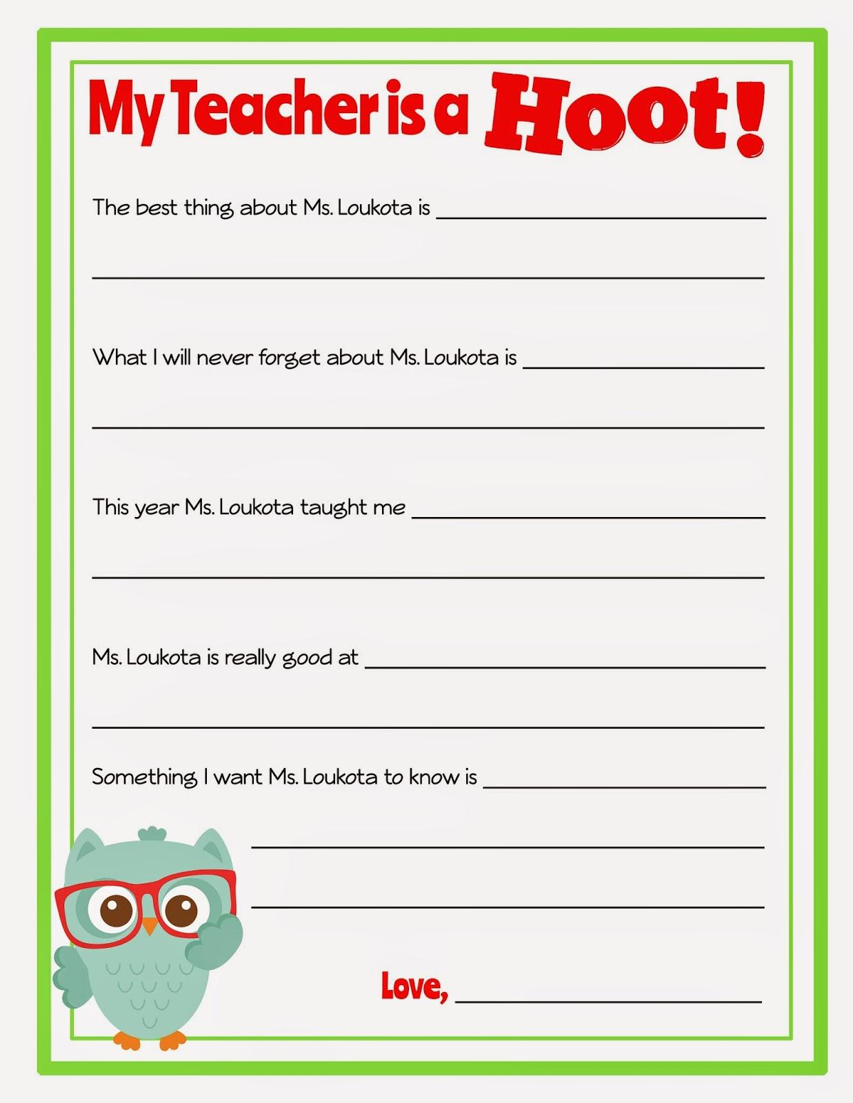 Miss Kate Cuttables Teacher Appreciation Book