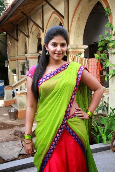 Hot Anjali Photos In Green Half Saree