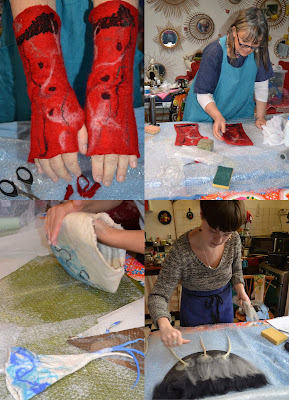 laine feutrée mitaine wet felt nuno merinos
