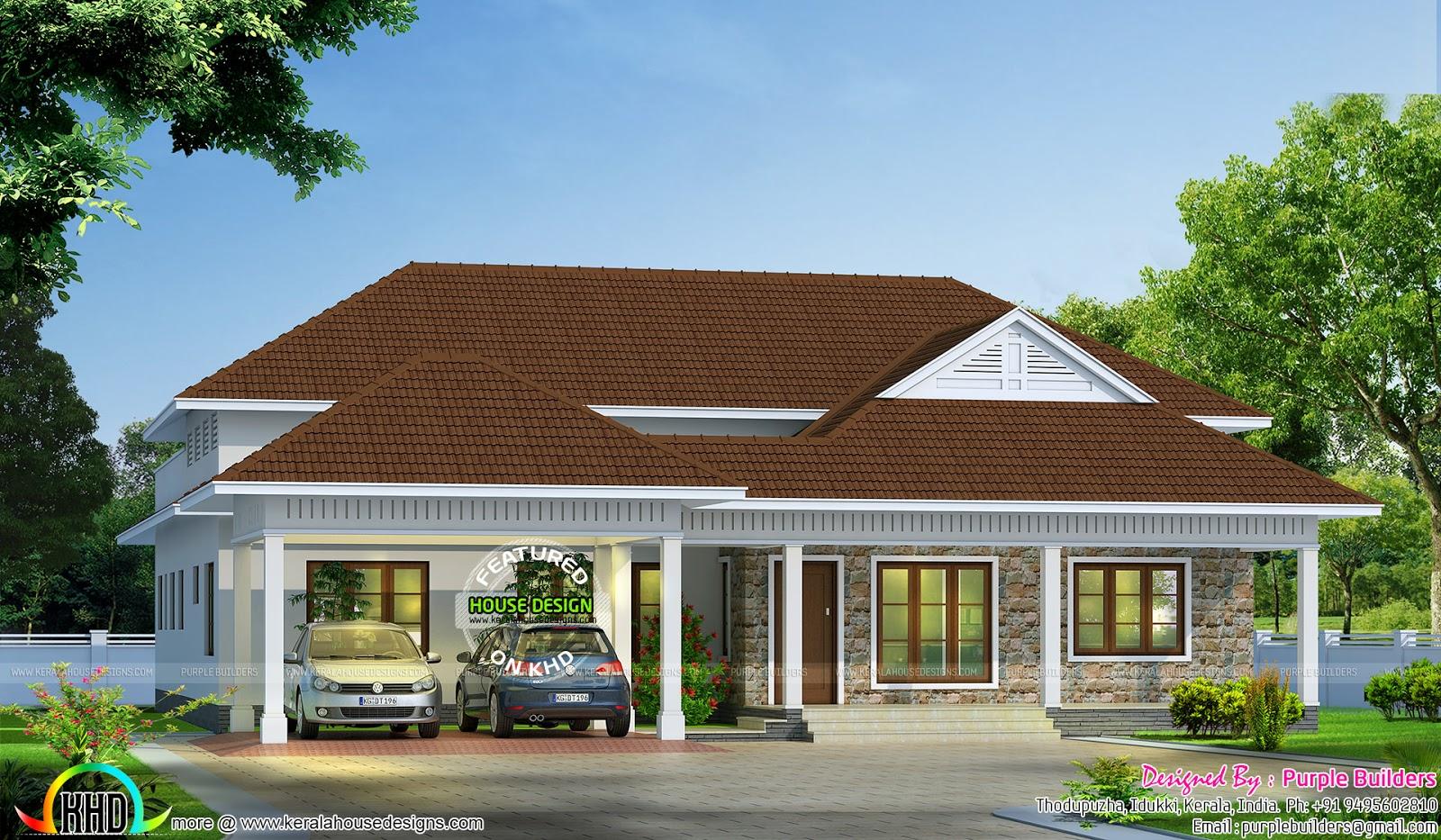 Single Floor Bungalow Elevation : Bedroom single floor bungalow kerala home design and