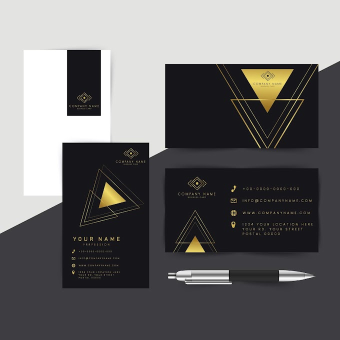 Business cards, best business cards, corporate cards template luxury golden black triangles