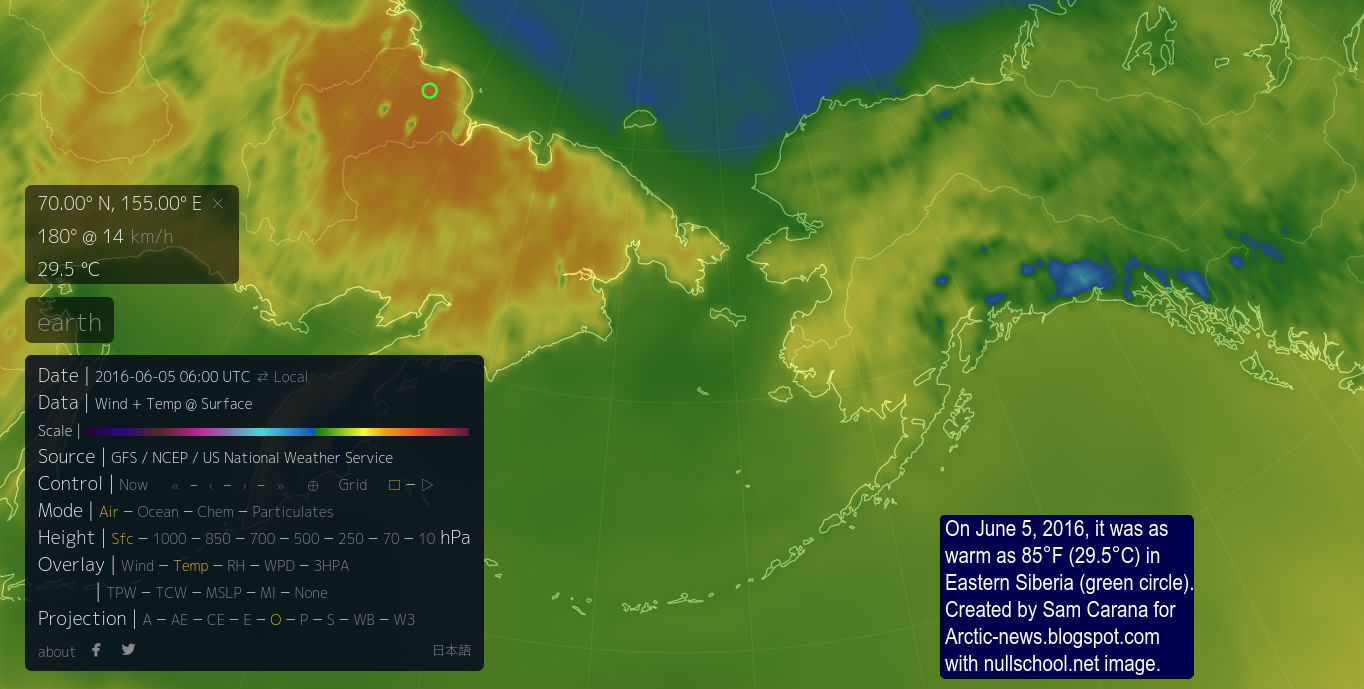 earlier this month temperatures in eastern siberia were as high as 29 5 c 85 f this was on june 5 2016 at a location close to the coast of the