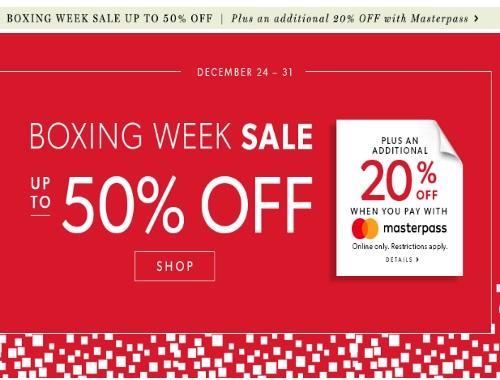 Chapters Indigo's Boxing Week Sale Up to 50% off + Extra 20% Off With MasterPass