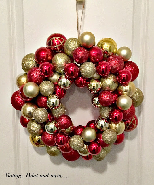 Vintage, Paint and more...Gorgeous Christmas ornament wreath easily diy'd with items found at the Dollar Store