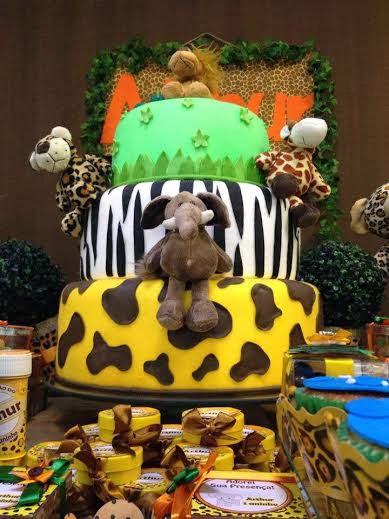 decoração festa safari bolo
