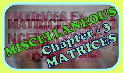 Miscellaneous Matrices Class 12th