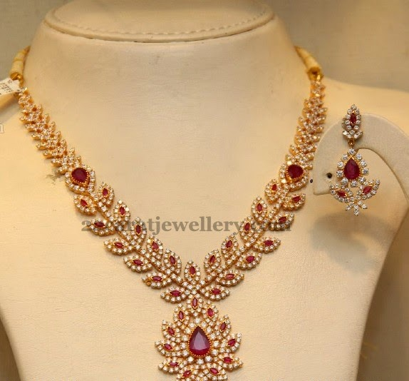 Ruby Cz Set By Malabargold Jewellery Designs