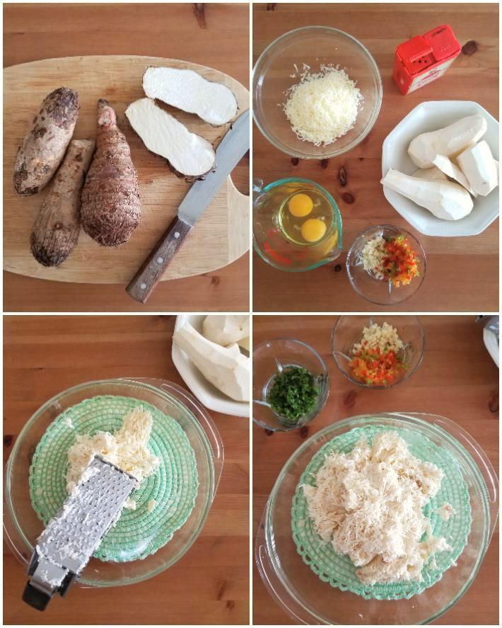Ingredientes para preparar los buñuelos: ocumo, queso blanco, ají dulce, perejil, entre otros
