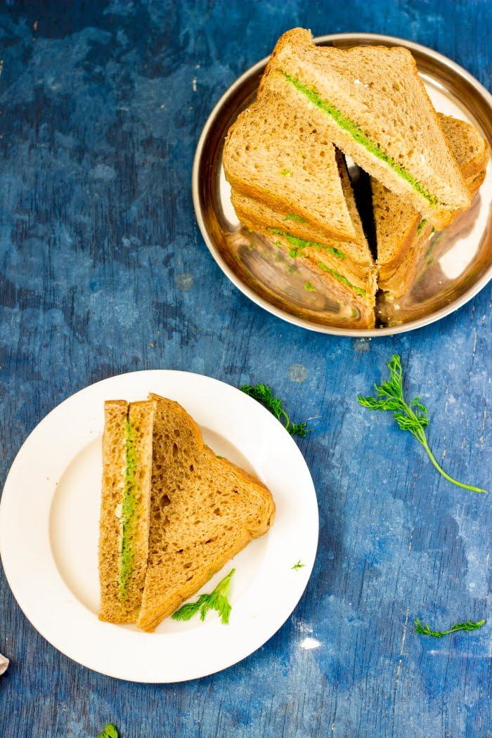 How to make chutney sandwich recipe, coriander chutney recipe, vegan sandwich, easy sandwich recipe