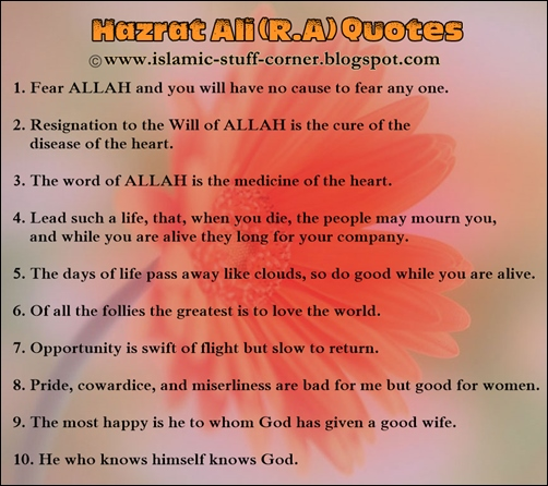Beautiful Golden Quotes of Hazrat Ali in English | Free