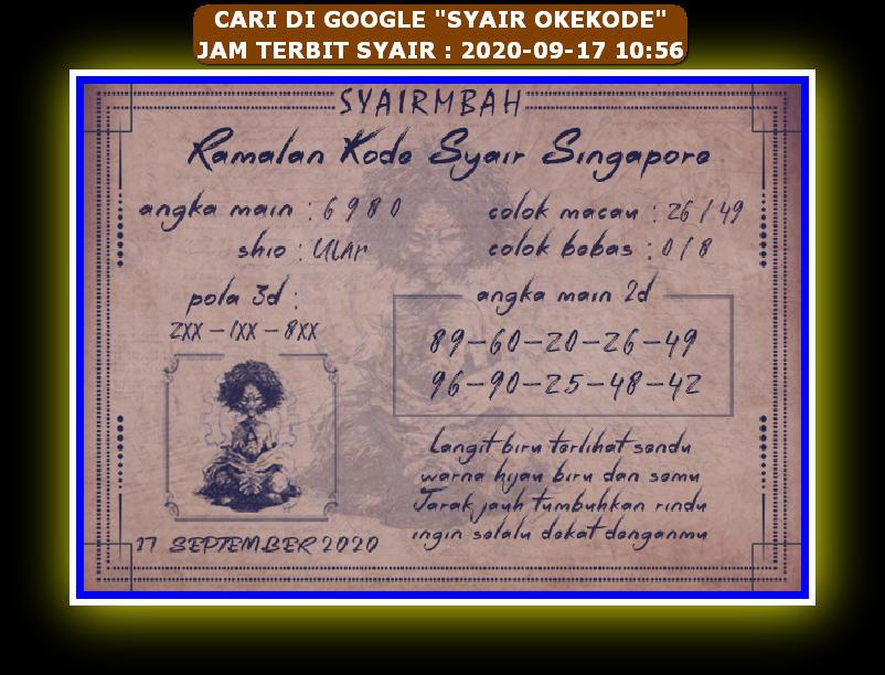 Kode syair Singapore Kamis 17 September 2020 91