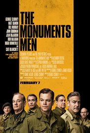 Poster for the film The Monuments Men. The title is on a yellow backdrop above the six main characters in WWII military uniforms.