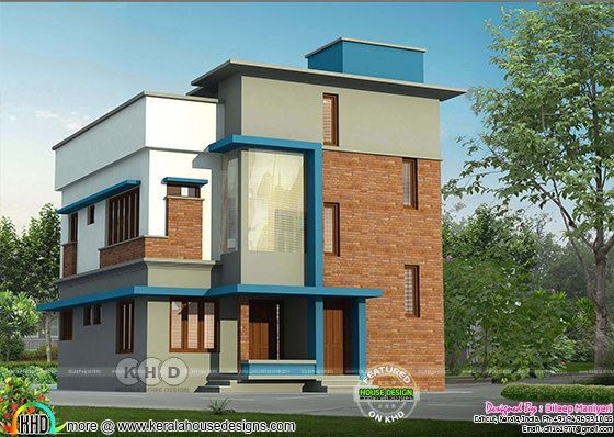 Brick wall home design in Kerala