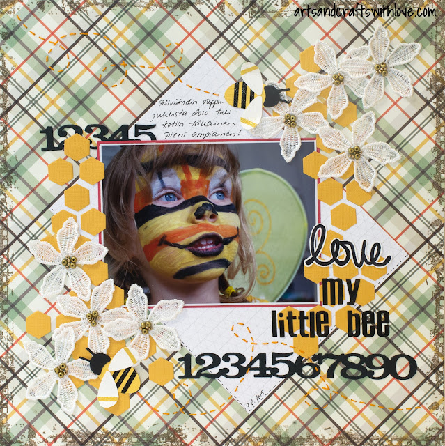 Layout for 123 Get Scrappy February: Love my little bee