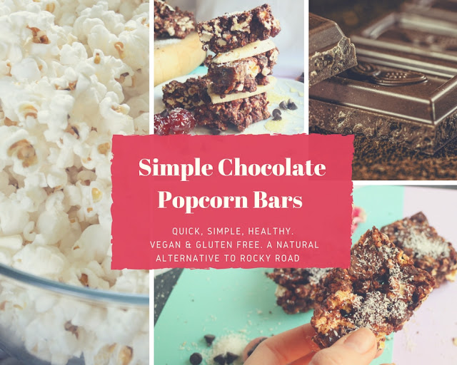 Healthy, vegan, rocky road, gluten free, refined sugar free, recipe, chocolate, dates, almonds, popcorn