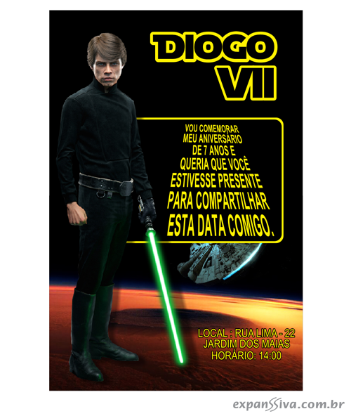 Convite de Aniversário Luke Skywalker