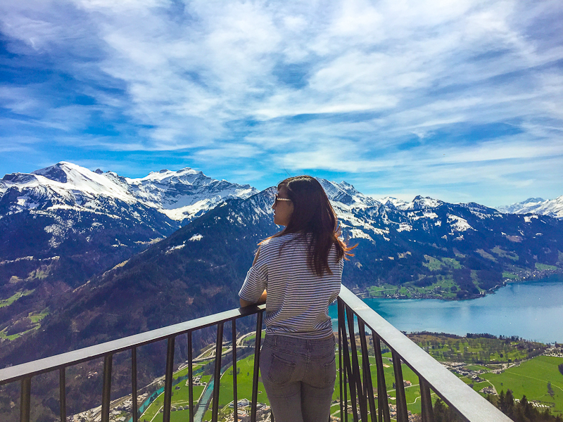 Looking out at the great view on the top of Harder Klum in Interlaken Switzerland