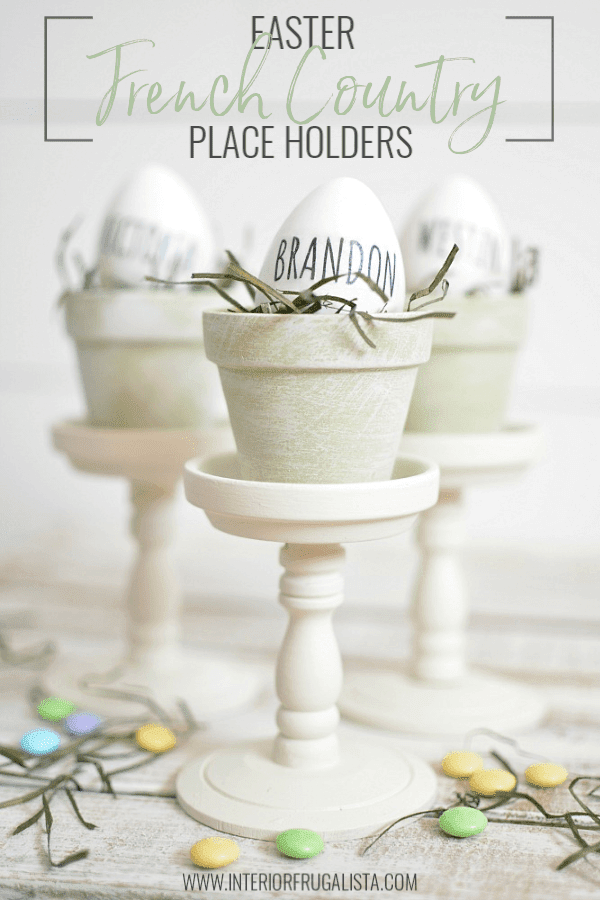 Gorgeous budget-friendly Rae Dunn inspired Easter egg place card holders with French Country style with repurposed dollar store mini terracotta pots. #frenchcountrystyle #eastertabledecor