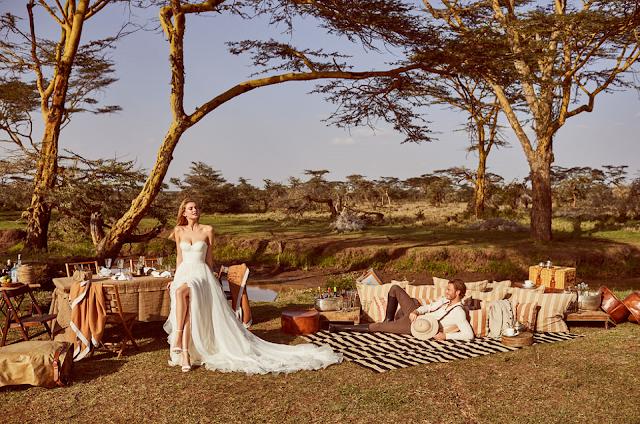Wild love in East Africa - stylizowana romantyczna sesja ślubna z sukniami ślubnymi od salonu Carolina.