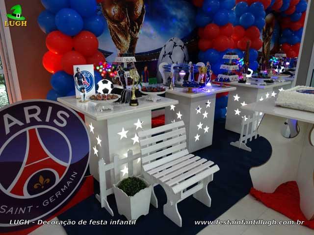 Festa aniversário Paris Saint-Germain - PSG - Decoração mesa temática