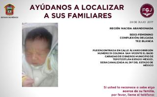 Bebé rescatada en la colonia San Vicente en Cañada de Cisneros