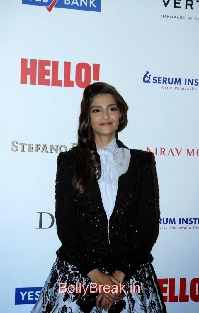 Sonam Kapoor Pictures, Sonam Kapoor Hot Pics in Black & White Skirt from Hall Of Fame Awards 2014