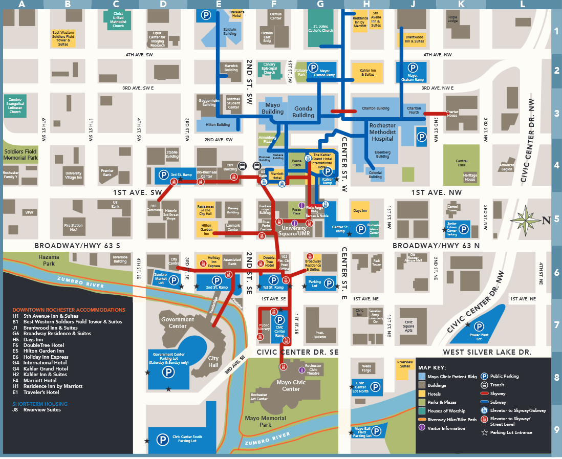 Mayo Clinic Map Skyway and Subway Map of Rochester, Minnesota | Around Rochester