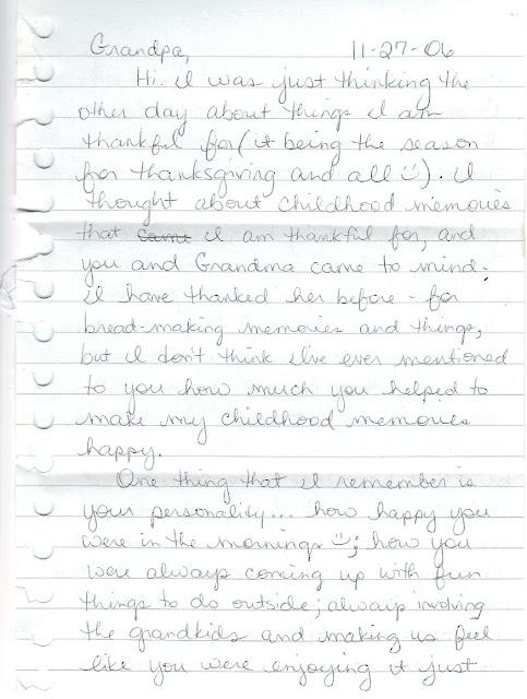 True Stories, Journal Entries, Letters: Dear Grandpa