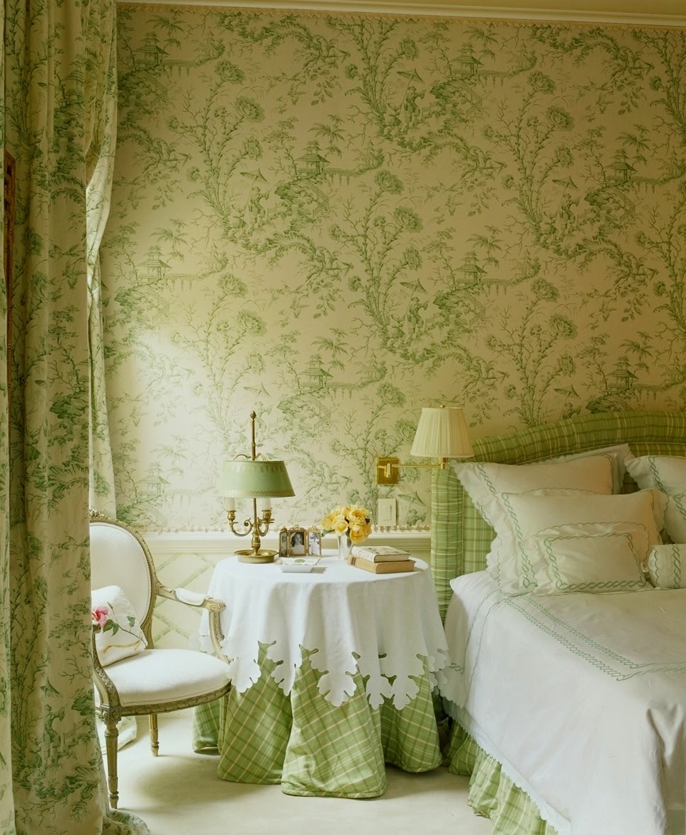 Bedroom Decorating Ideas Totally Toile: 50 Gorgeous Green And White Bedrooms