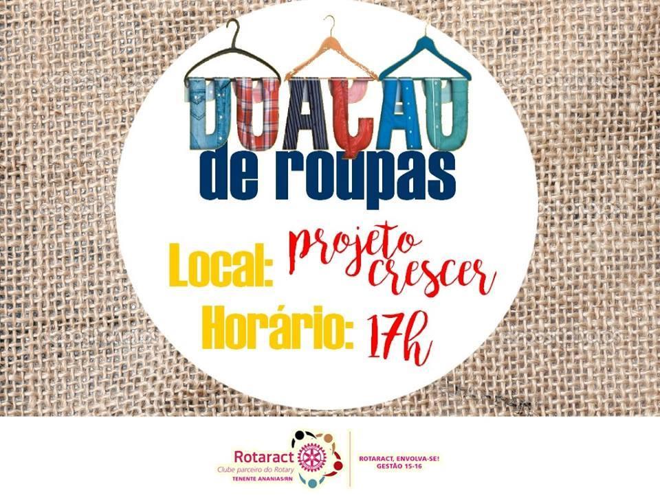 6413e8af044 Rotaract Club de Tenente Ananias   CAMPANHA  DOAÇÃO DE ROUPAS ...