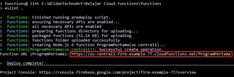 Screenshot Deploy Cloud Functions