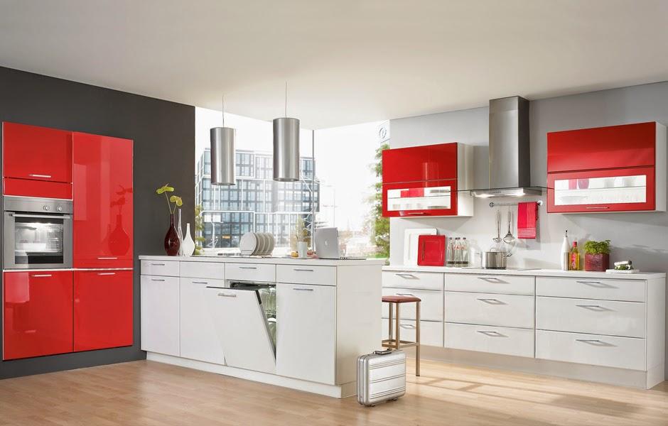 cocina en rojo y blanco muy brillante Diseño sencillo con muebles