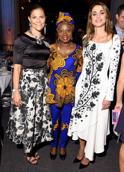 Crown Princess Victoria and Queen Rania attended 2016 Global Goals Awards Dinner at Gustavino's