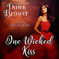 One Wicked Kiss audiobook cover. A brunette woman with long hair, wearing a scarlet off-the-shoulder dress looks back over her shoulder and towards the dark forest she is running from.