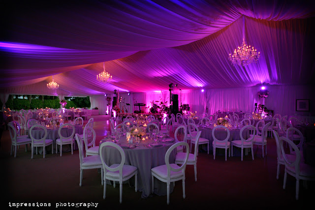 South Seas, Captiva Island Florida tented wedding with uplighting