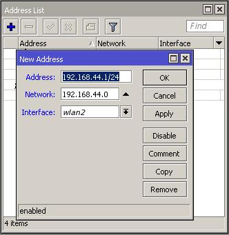 Menambahkan IP address untuk virtual AP di mikrotik