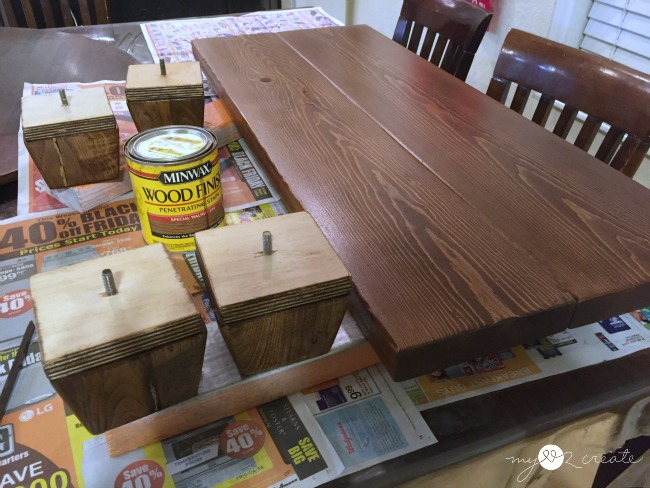 staining bench top and feet with Minwax special walnut