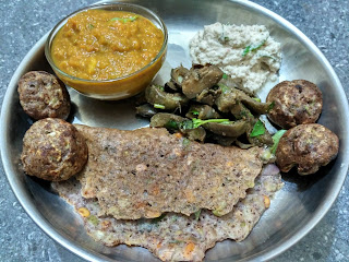Maappillai Samba Veg Paniyaaram and Dosa, Brinjal poriyal, Coconut chutney, Carrot Capsicum Tomato Chutney