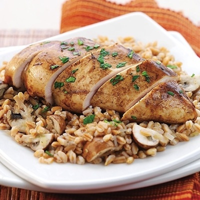 Rice Cooker Balsamic Dijon Chicken With Farro And Mushrooms
