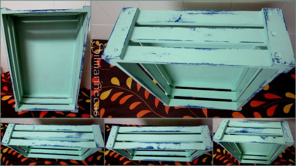 Pintando una caja de fruta con pintura tiza